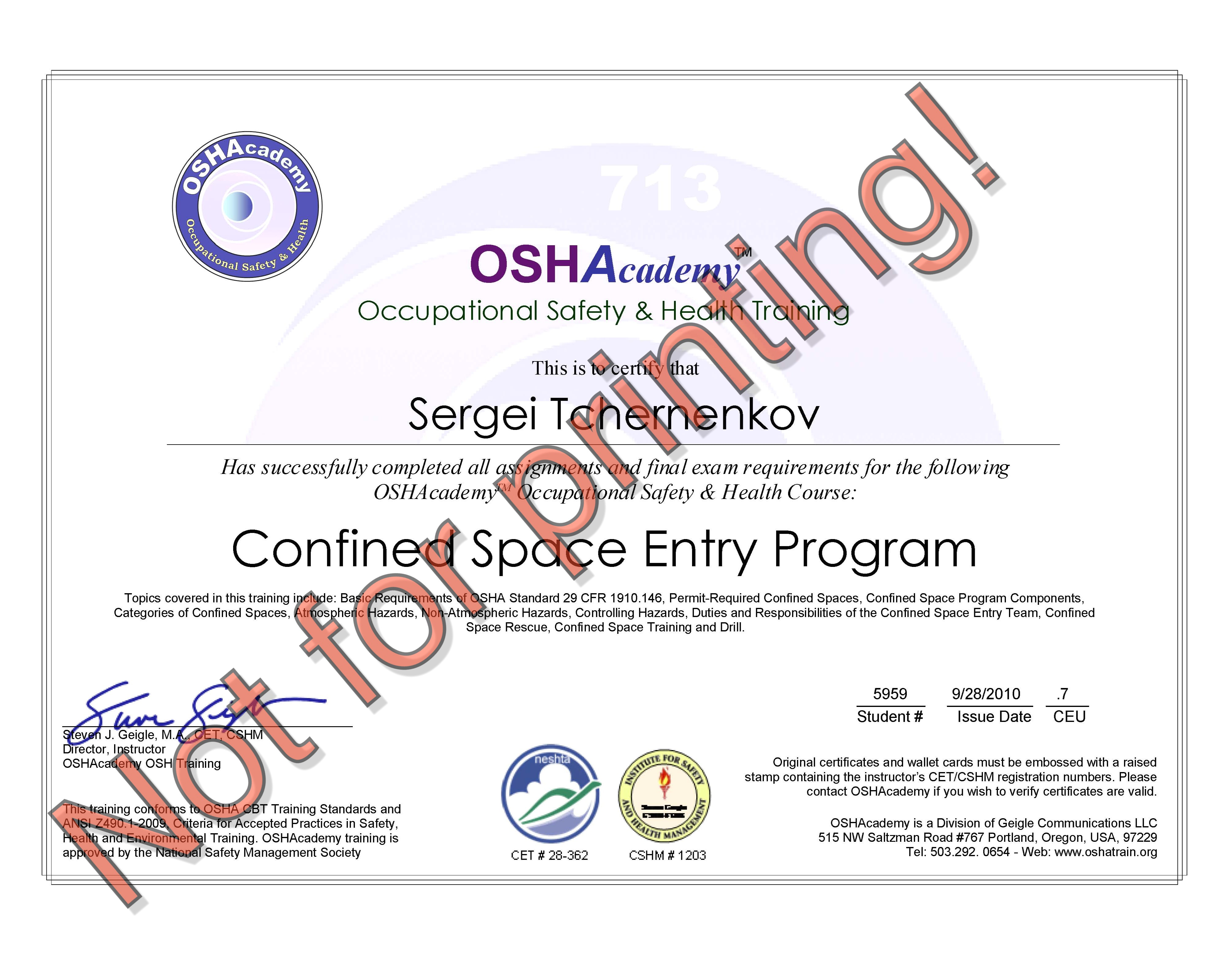 hse certificates