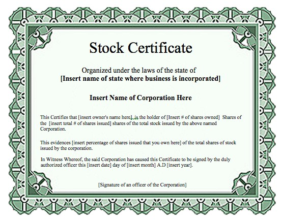 stock certificate templates