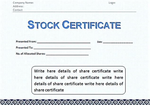 Corporate Stock Certificate Template Word Stock Certificate Template Free In Word and Pdf