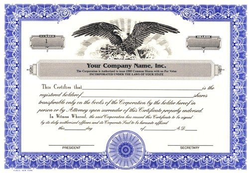 blank corporate stock certificate template corporation stock certificate template
