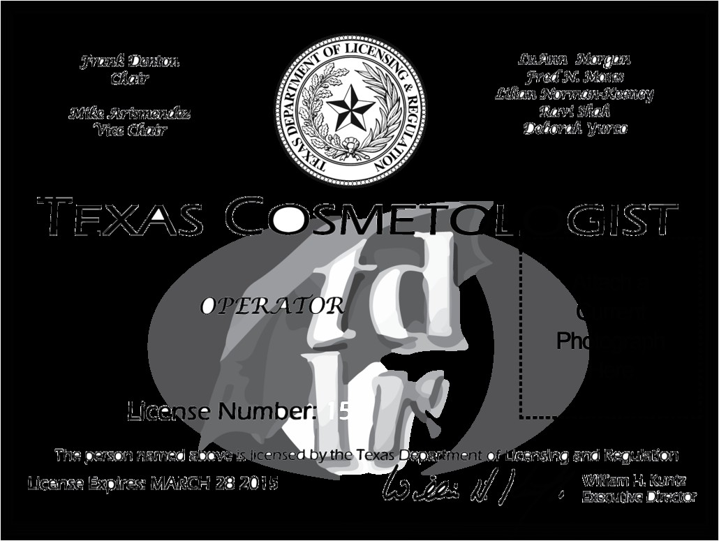 Cosmetology Certificate Template Texas Cosmetologist License by soulcomplex On Deviantart