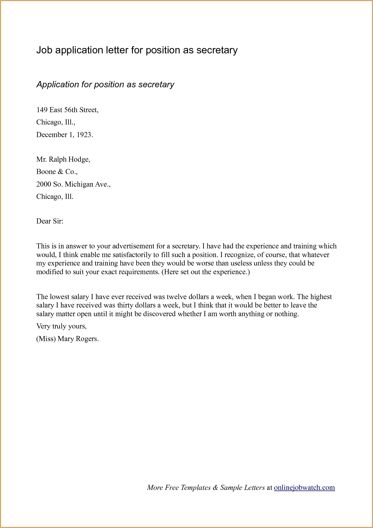 Cover Letter Template for Job Application Sample Cover Letter format for Job Application