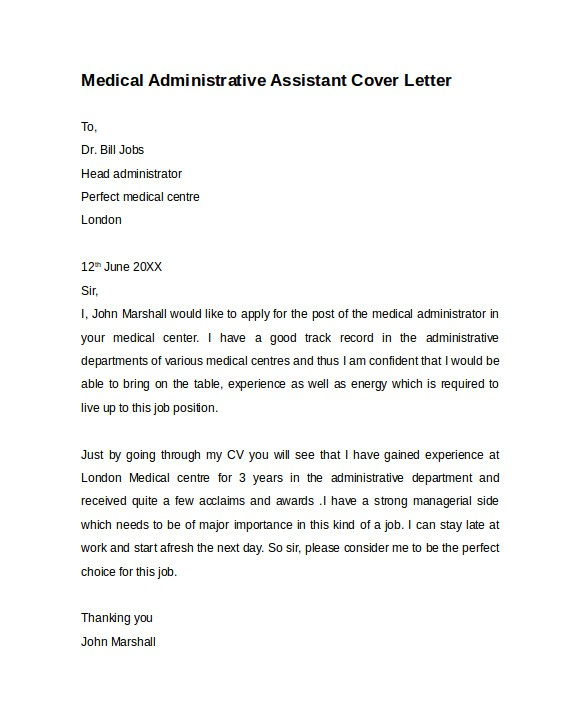sample administrative assistant cover letter