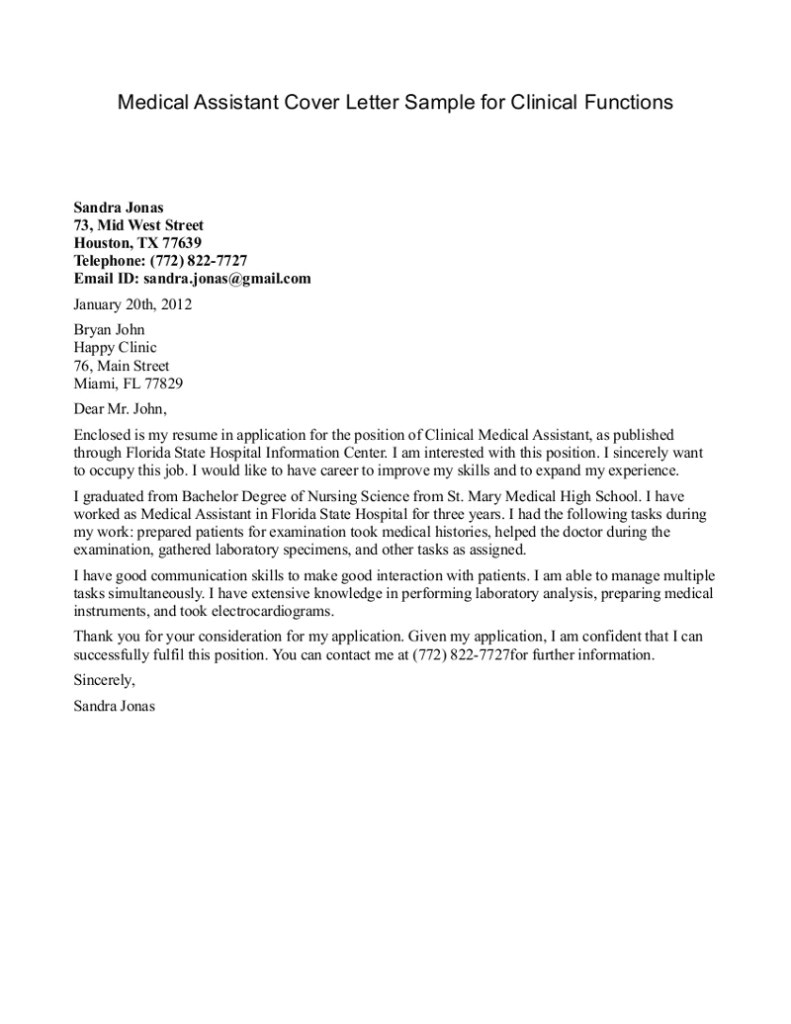 Cover Letter Template for Medical Office assistant Medical assistant Resume Cover Letter