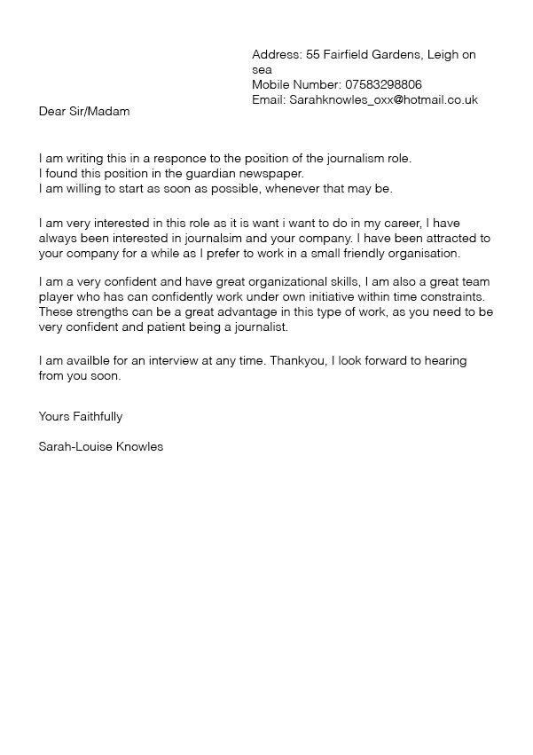 cover letter format for mac