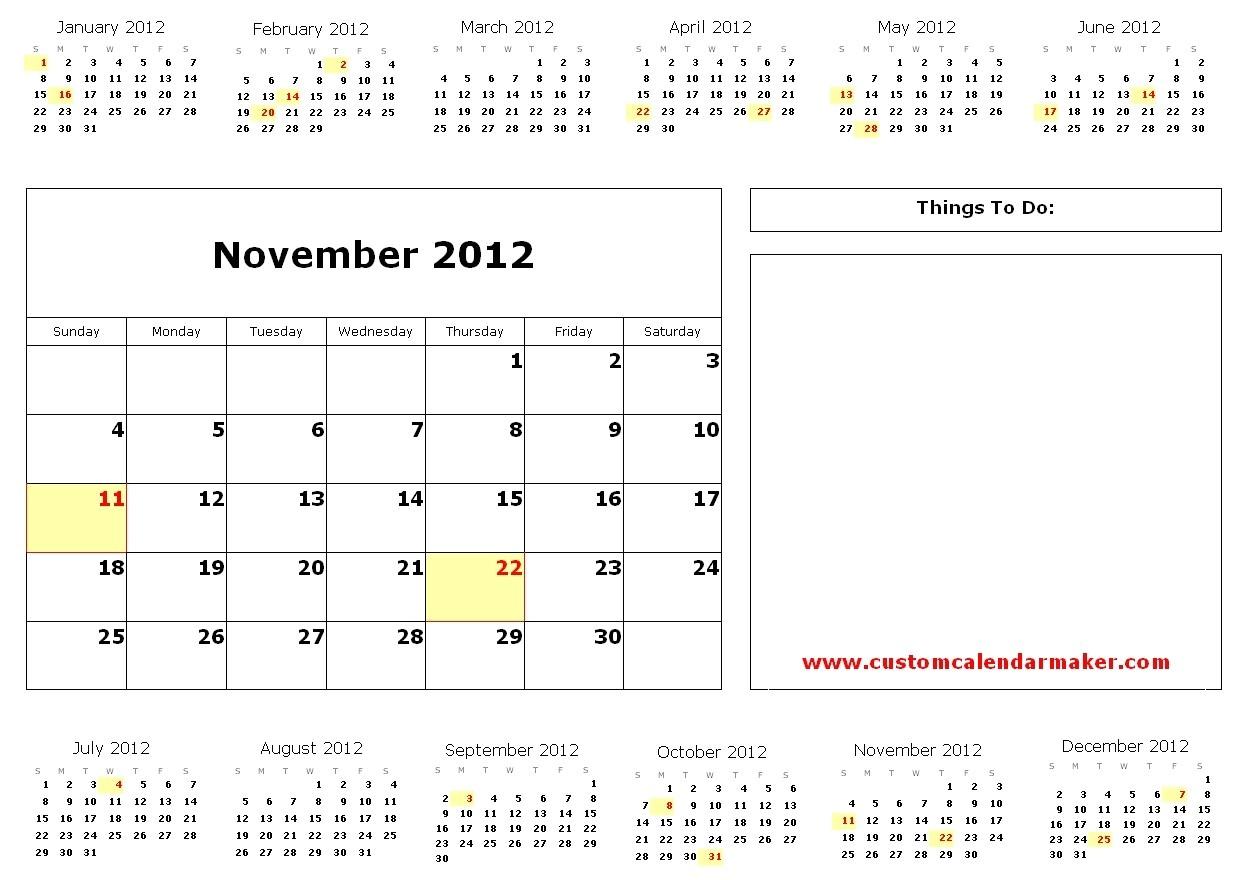 custom calendar printable