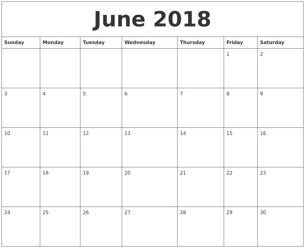 june 2018 custom calendar printing