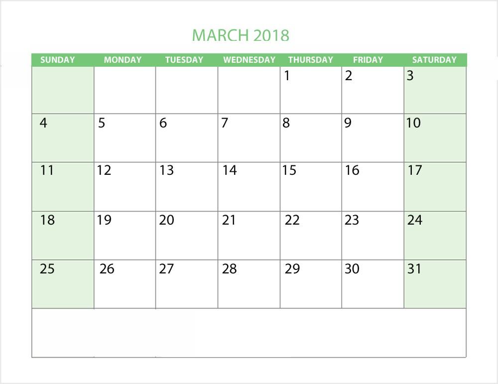 march 2018 custom calendar