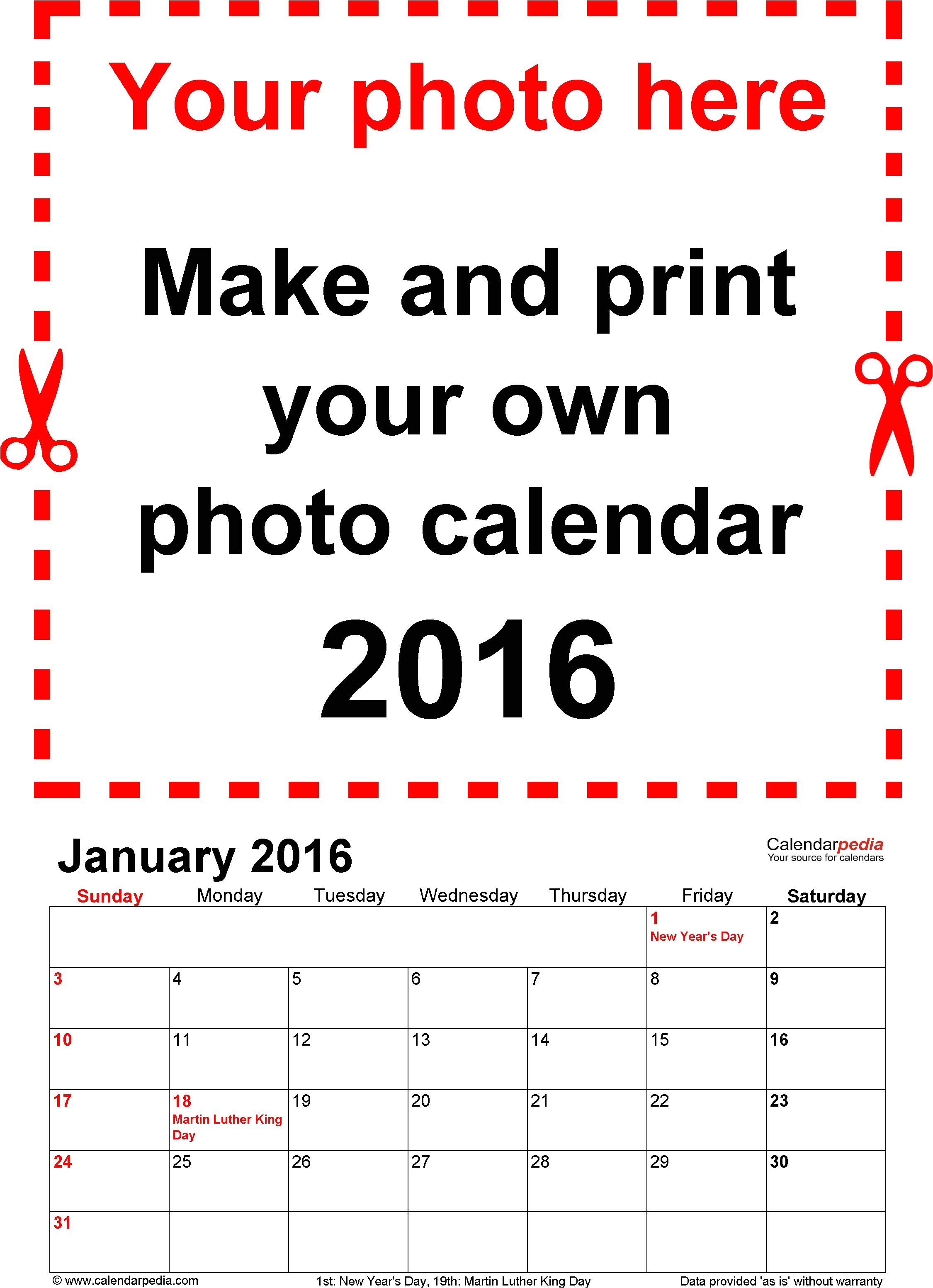 customizable 2016 calendar template for word