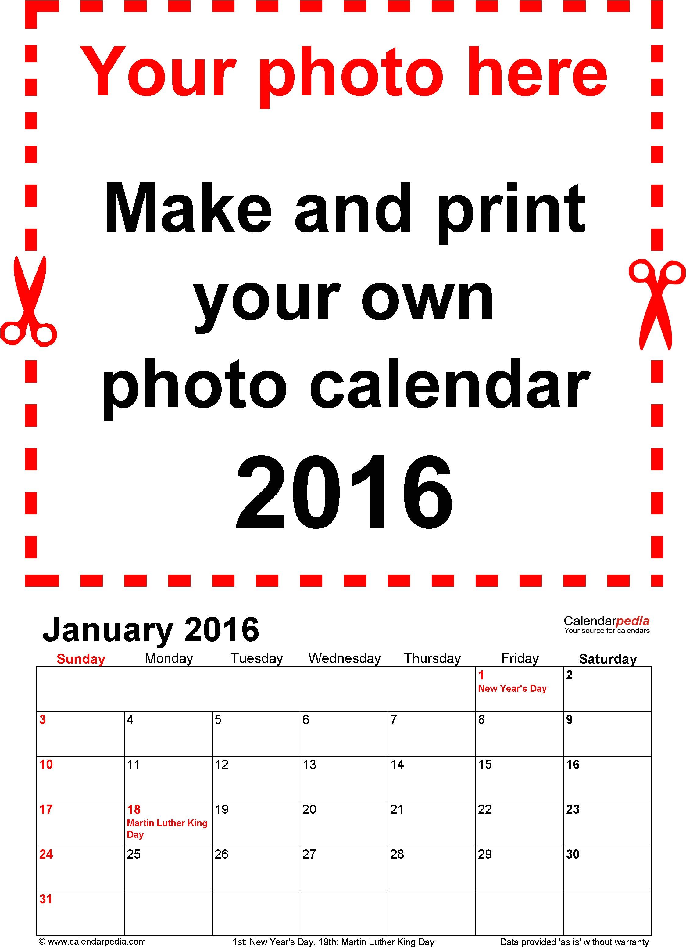 customizable 2016 calendar template for word