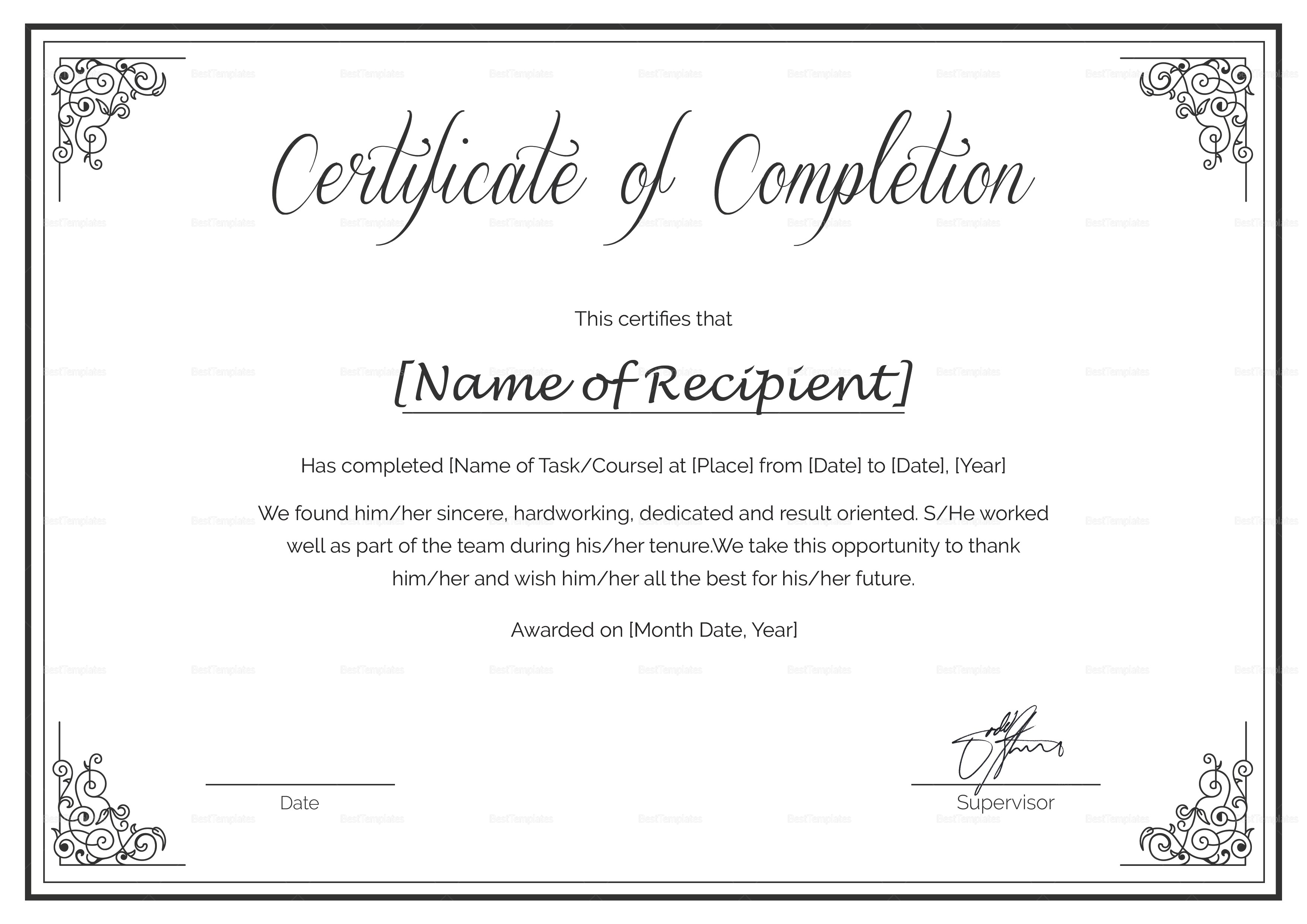 custom certificate of completion