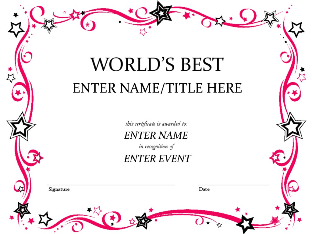 free custom award certificate templates