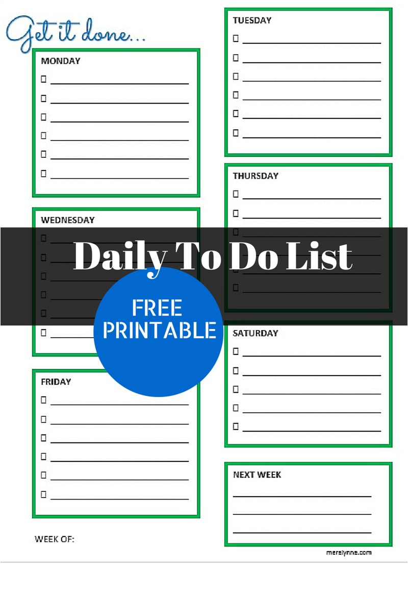 Daily Calendar to Do List Template Get It Done Daily to Do List and Free Printable