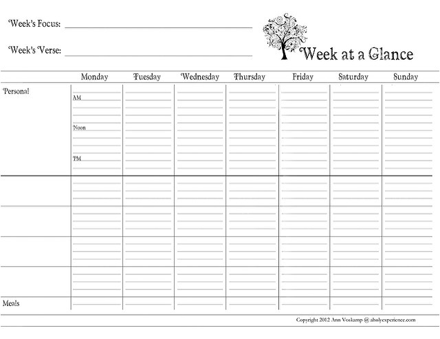 post day at a glance printable 46853