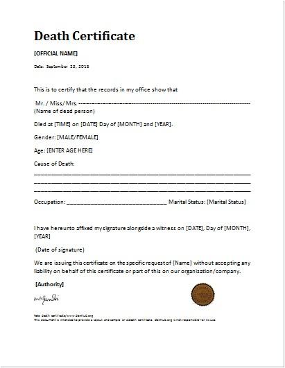 Death Certificate Translation Template Spanish to English Death Certificate Template for Ms Word Document Hub