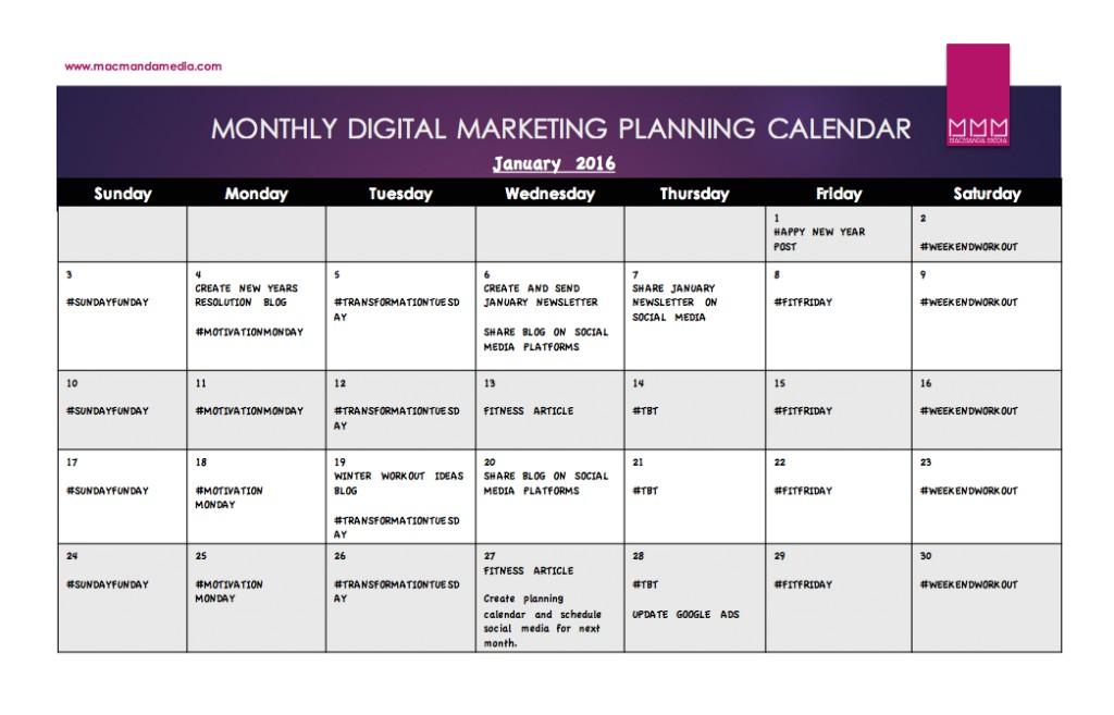 social media calendar template free download