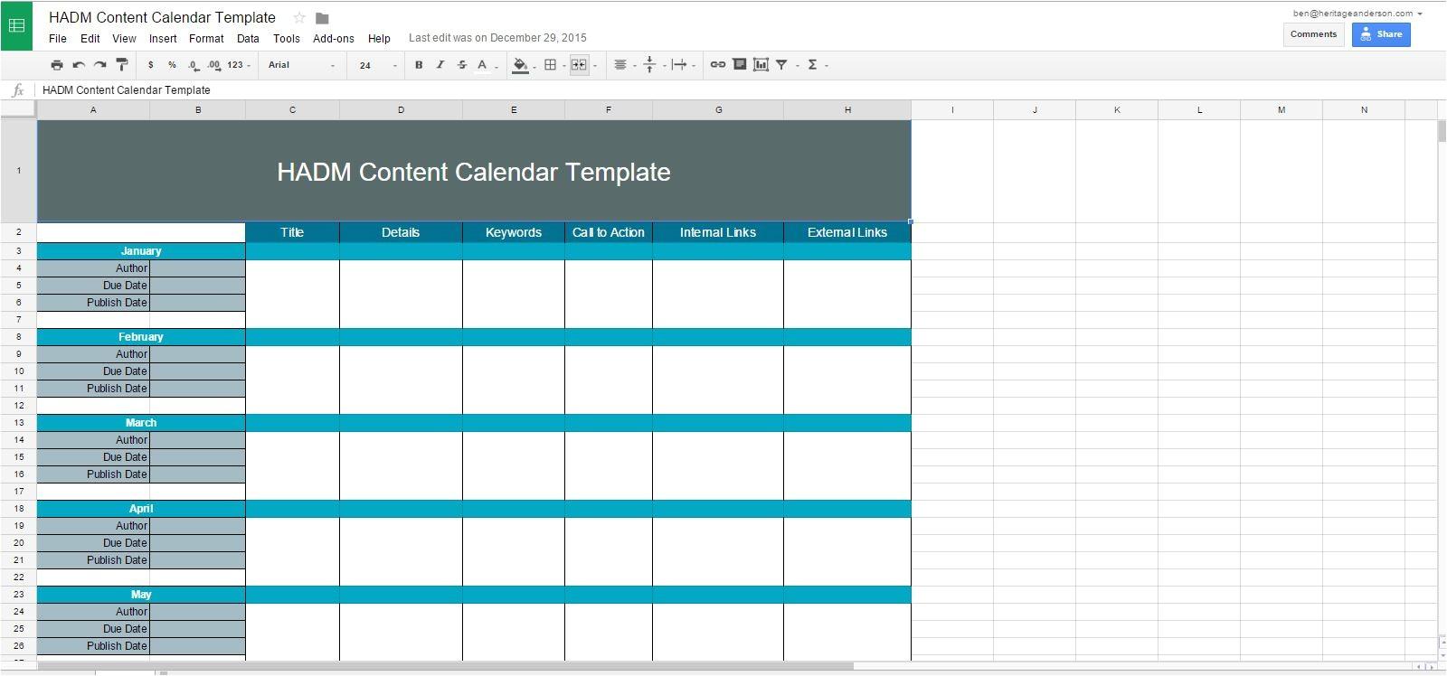 Digital Content Calendar Template Free 12 Month Content Calendar Template Ha Digital