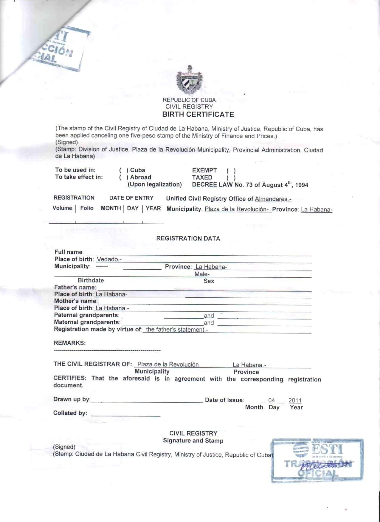 birth certificate translation template english to italian
