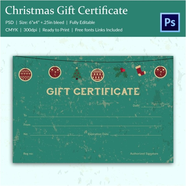 Diy Gift Certificate Template Christmas Gift Certificate Templates 21 Psd format