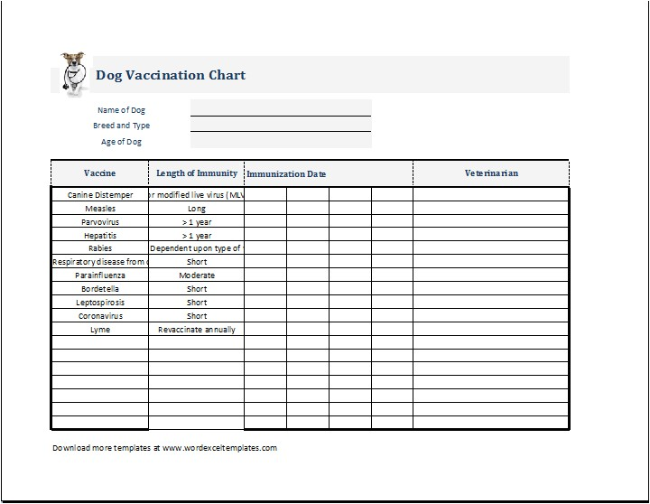Dog Vaccination Certificate Template Dog Puppy Vaccination Chart Template Ms Excel Word