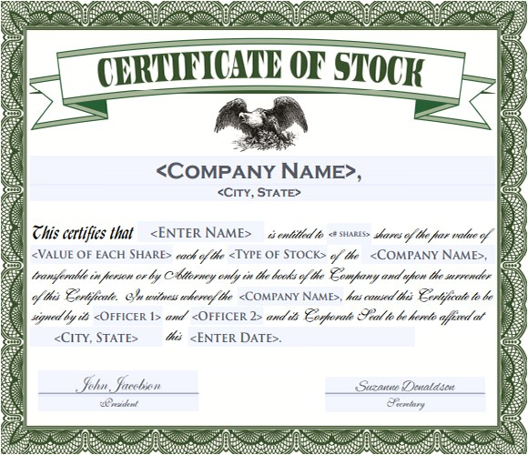 Eagle Stock Certificate Template 5 Sample Stock Certificate Templates to Download Sample