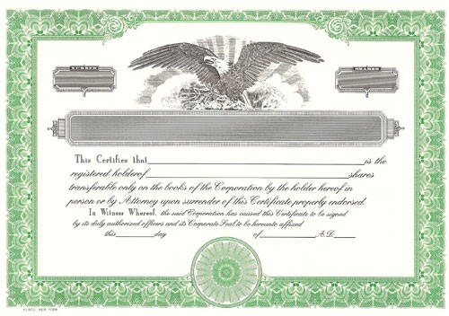 Eagle Stock Certificate Template Blank Certificates Corporation Blank Stock Certificates