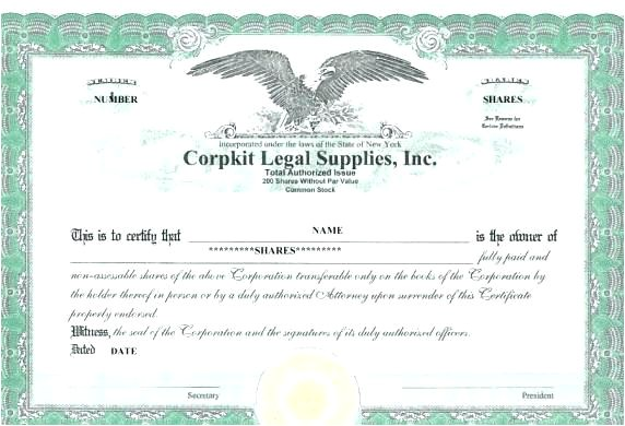 Eagle Stock Certificate Template Fancy Common Stock Certificate Template Component Online