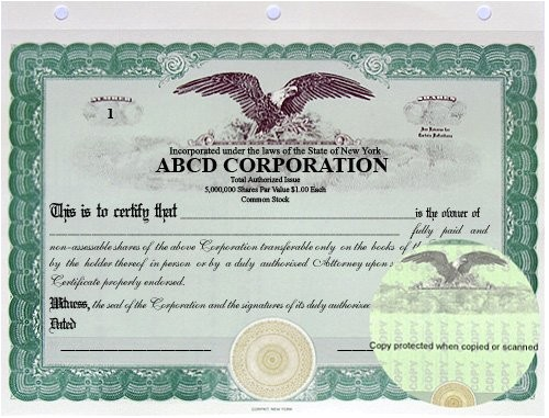 Eagle Stock Certificate Template Stock Certificates Llc Certificates Share Certificates