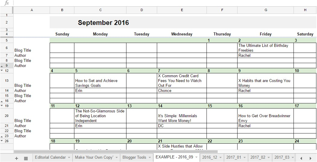 Editorial Calendar Template Google Docs 2018 Editorial Calendar In Google Sheets Young Adult Money