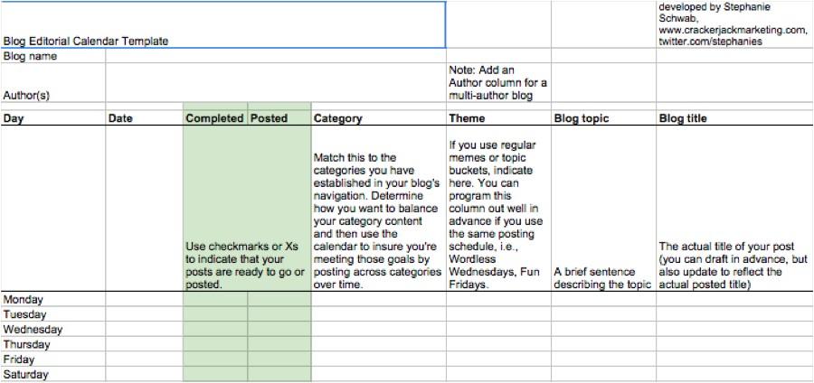 editorial calendar template google docs