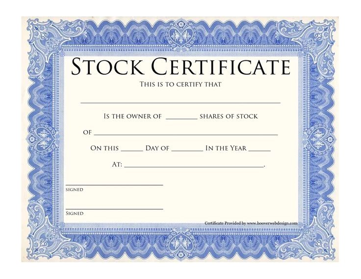 Electronic Stock Certificate Template Blank Stock Certificate Template Printable Stock