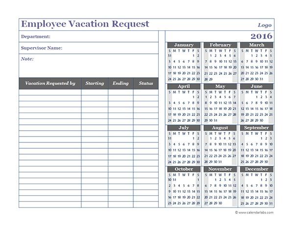 2016 employee time off calendar template