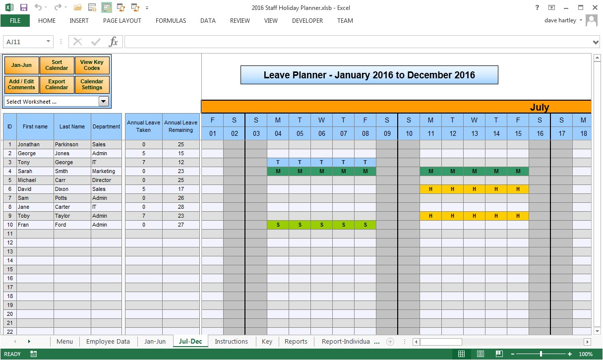 Employee Time Off Calendar Template Employee Time Off Calendar 2016 Calendar Template 2018