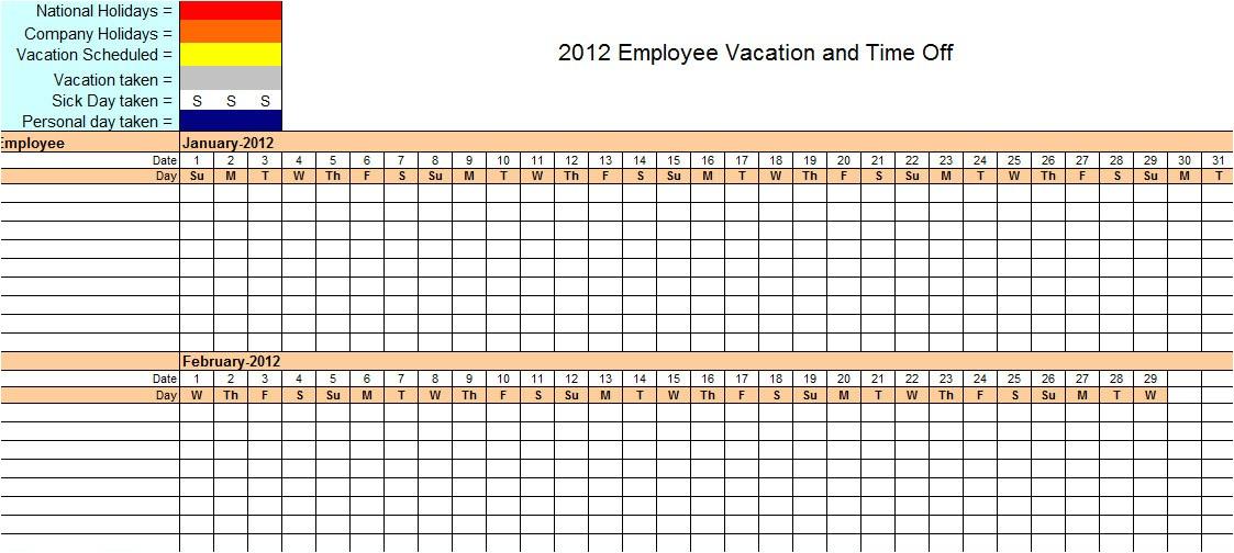 employee time off calendar template 2016