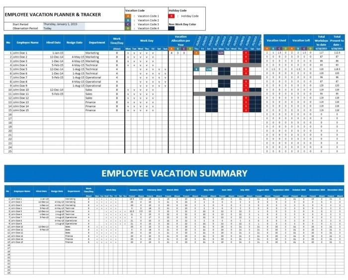 employee time off calendar template
