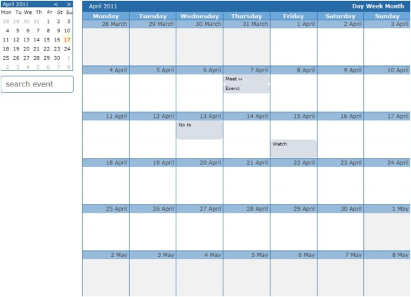 Event Calendar Template for Website 26 HTML Calendar Templates HTML Psd Css Free