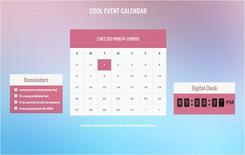 cool event calendar responsive widget template