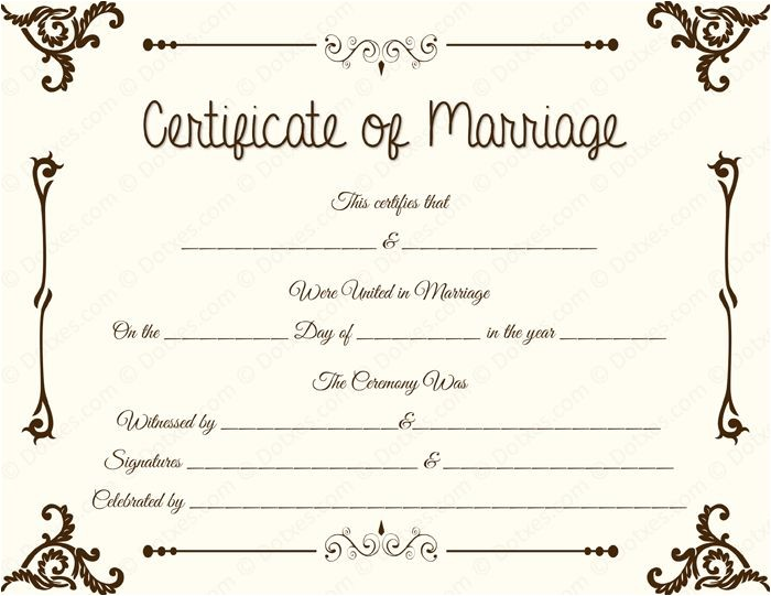 printable marriage certificates