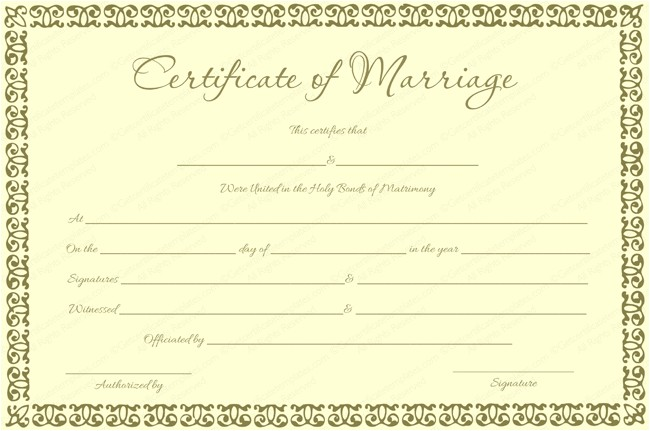 Fake Marriage Certificate Template Banana Gold Colored Marriage Certificate Template