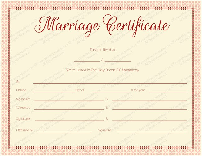 maroon delight marriage certificate template