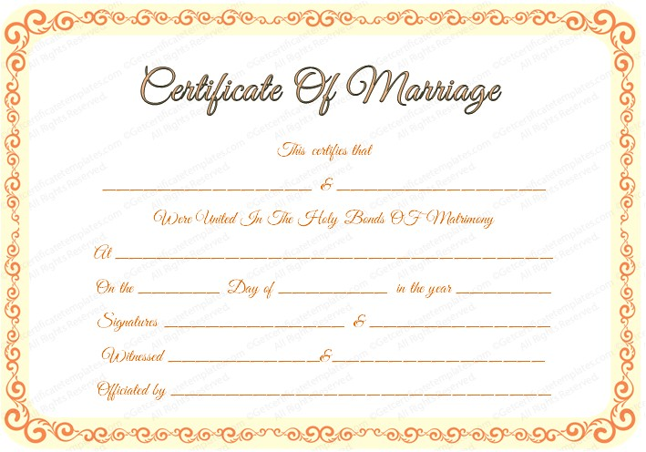 Fake Marriage Certificate Template Marriage Certificate Template Certificate Templates