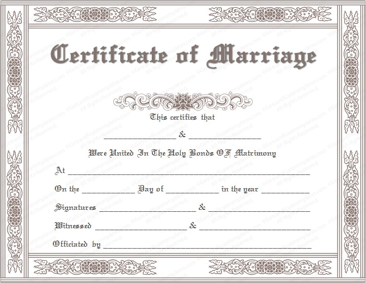 Fake Marriage Certificate Template Printable Marriage Certificate Templates 10 Editable