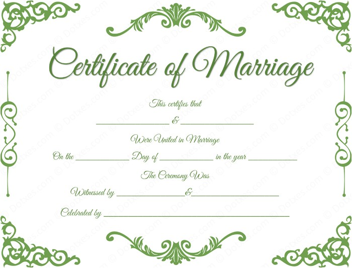 traditional corner marriage certificate template
