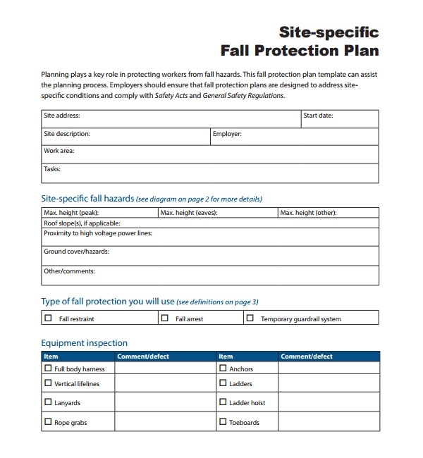 fall protection plan template