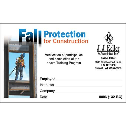 fall protection certification template