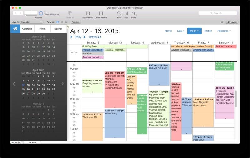 filemaker pro calendar template free