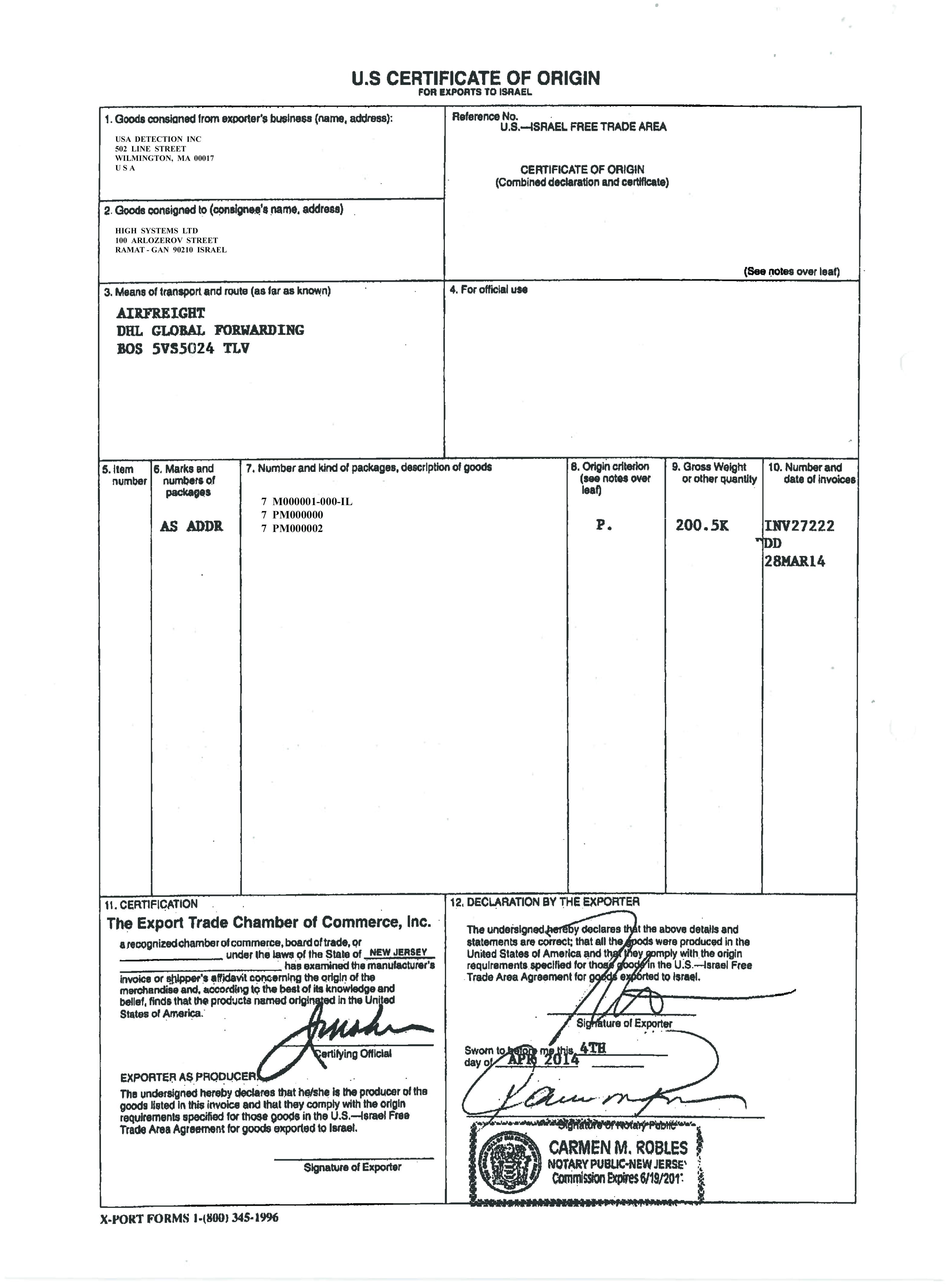 certificate of origin template usa 1258
