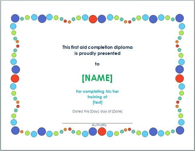 first aid training completion certificate template