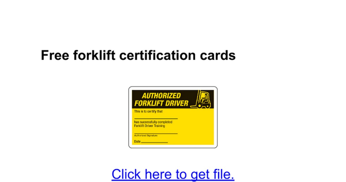 forklift certification card