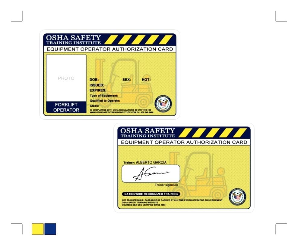 Forklift Certification Wallet Card Template Free forklift Certification Cards Blank Bing Images